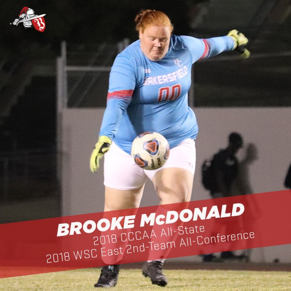 Brooke McDonald in goalie shirt and gloves about to kick the soccer ball
