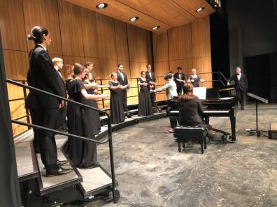 Photos of students singing at the Chamber Festival.