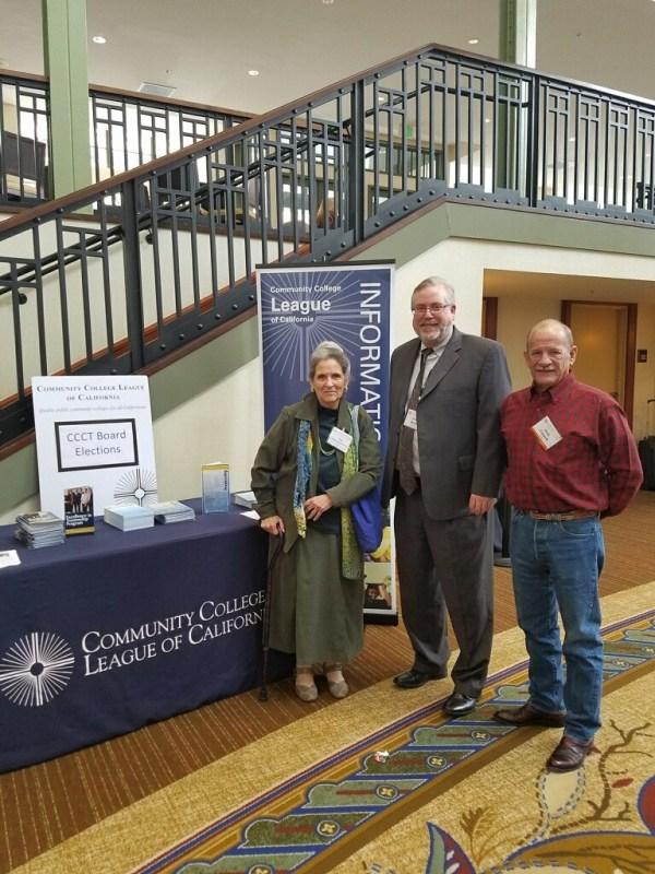 Trustees Nan Gomez-Heitzeberg, Chancellor Tom Burke, and Trustee Jack Connell at CCLC