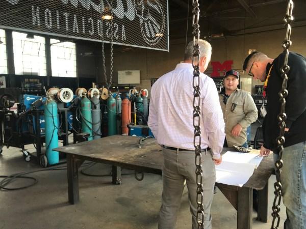 the BC team visits Mcfarland welding shop