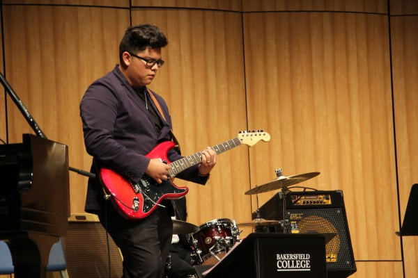 BC Jazz student playing guitar