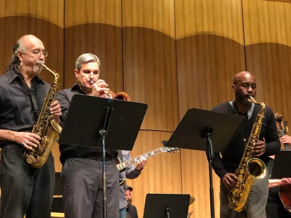 BC Faculty Jazz Ensemble playing horns