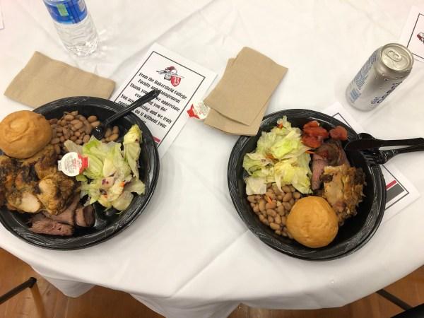 2 plates of food.