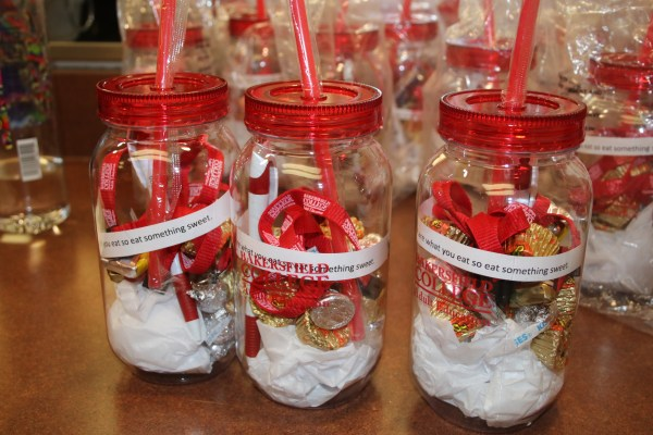 BC cups with candy give away.