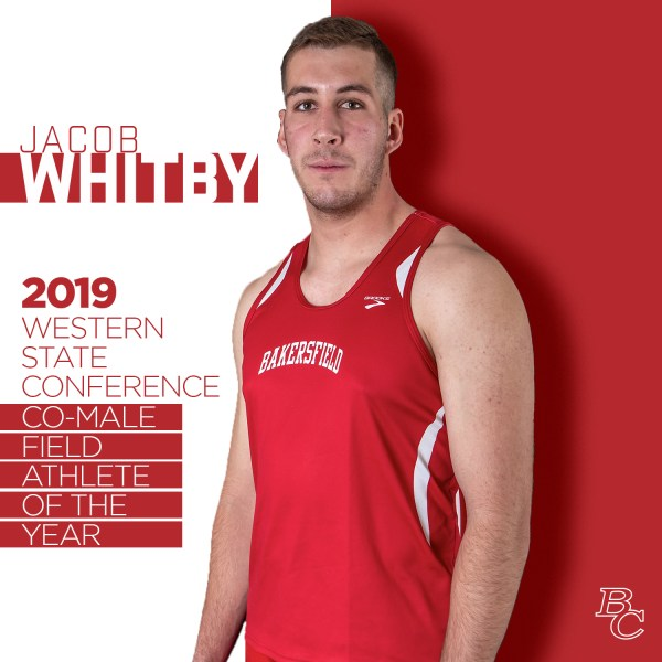 Jacob Whitby 2019 Western State Conference co-male filed athlete of the year.
