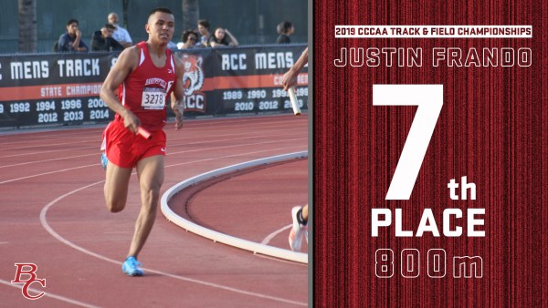 2019 CCCAA Track & Field Championships Justin Frando 7th place 800m