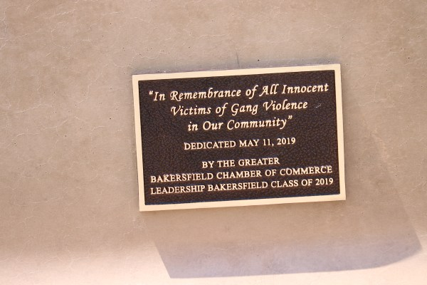 In Remembrance of All Innocent Victims of Gang Violence in Our Community, plaque.
