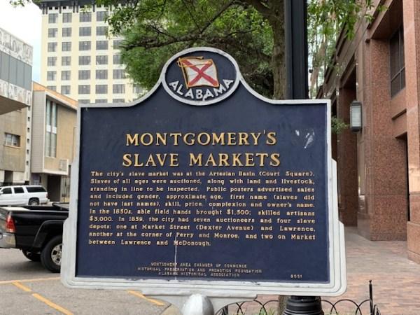 Alabama Montgomery's Slave Markets historical marker.