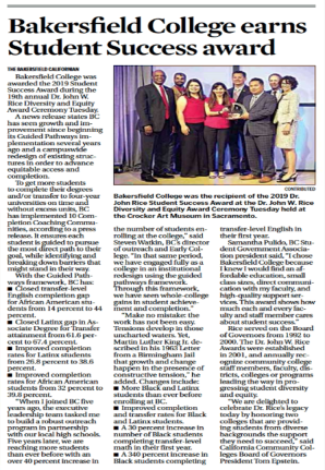 Bakersfield College Earns Student Success Award article clipping.