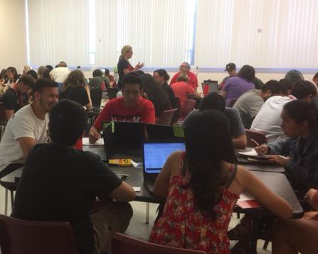 Summer bridge students working in groups