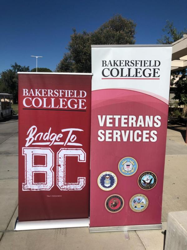 Bakersfield College Bridge to BC and Veterans Services signs.