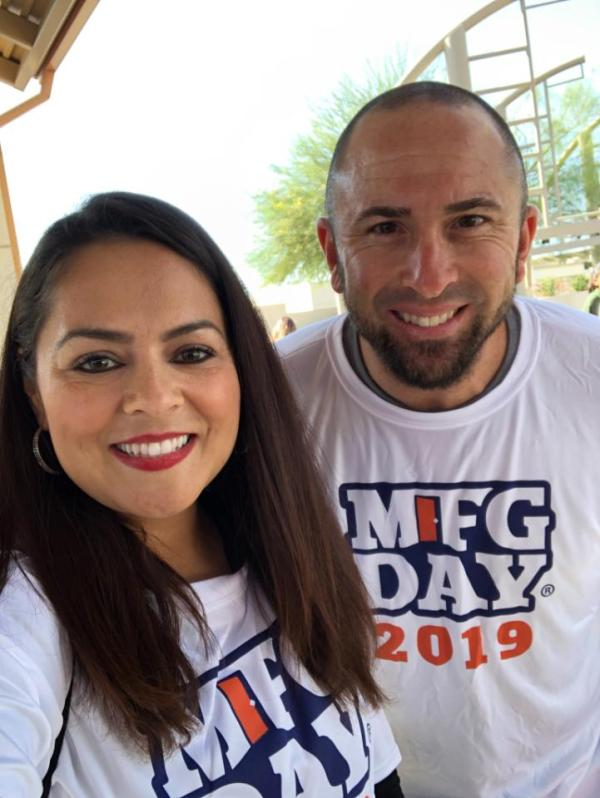 Employees with MFG Day 2019 t-shirts.