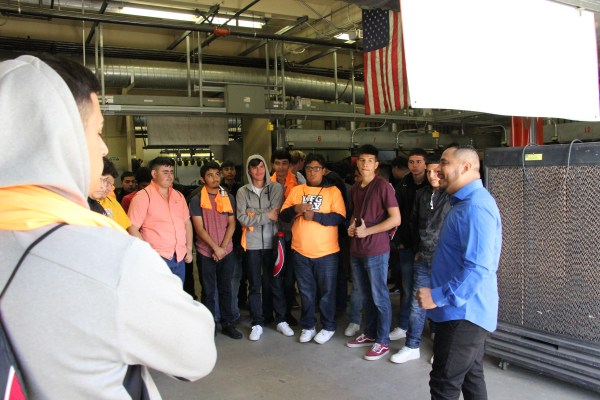 Students touring one of the garage labs.