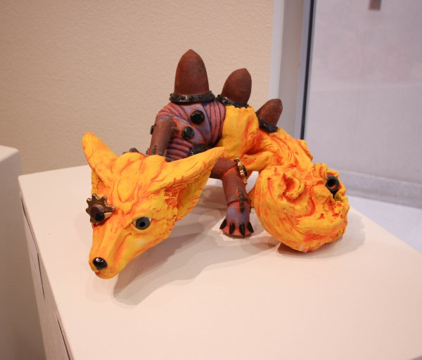 Sculpture of a fox dragon with industrial feeling.