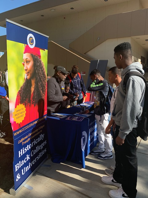 Student looking at large poster Historically Black Colleges & Universities.