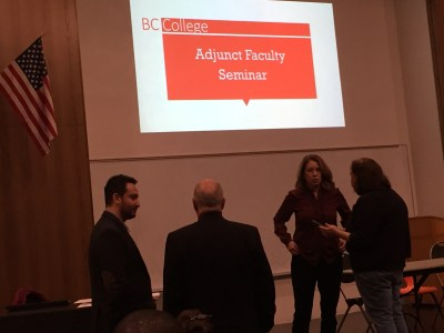 BC College Adjunct Faculty Seminar beginning slide with organizers.