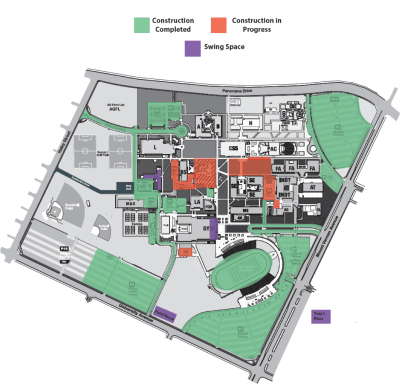 Map showing the campus center, field house, and science and engineering areas shaded.