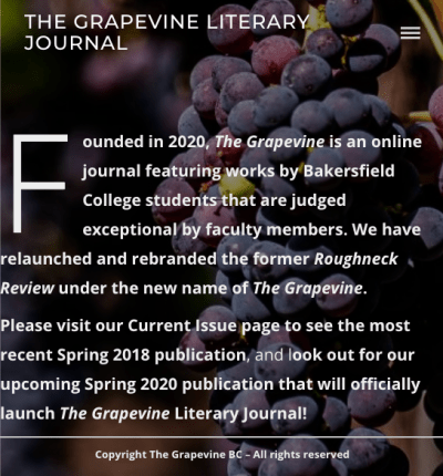 Screenshot of the website with purple grapes in the background.