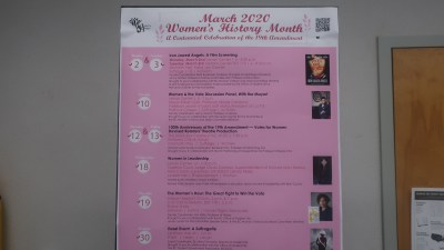 March 2020 Women's History Month sign.