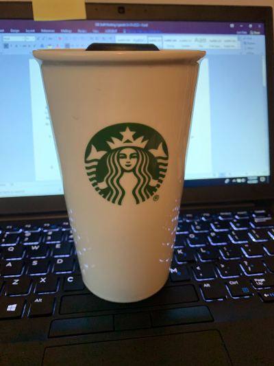 Starbucks coffee cup.