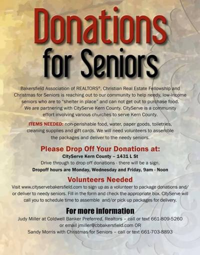 Donations for Seniors notice.