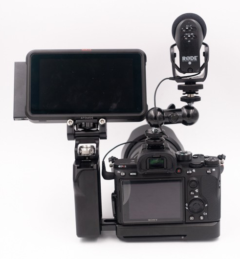 atomos ninja v, smallrig 1135 double end ball head with cold shoe and thumb screw, smallrig 2218 left side grip for l-bracket- 051