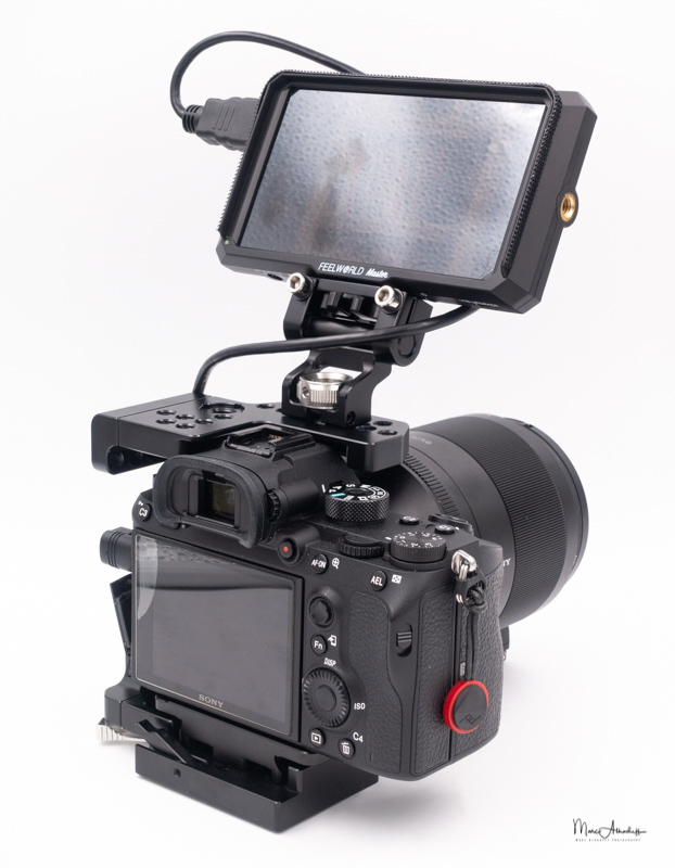 feelworld ma5, smallrig 2098 qr half cage for sony a7r iii-a7 iii-a7 ii-a7r ii-a7s ii`, smallrig 2174 monitor mount with arri locating pins- 089
