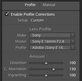Lightroom 3 - Lens Profile Correction enabled