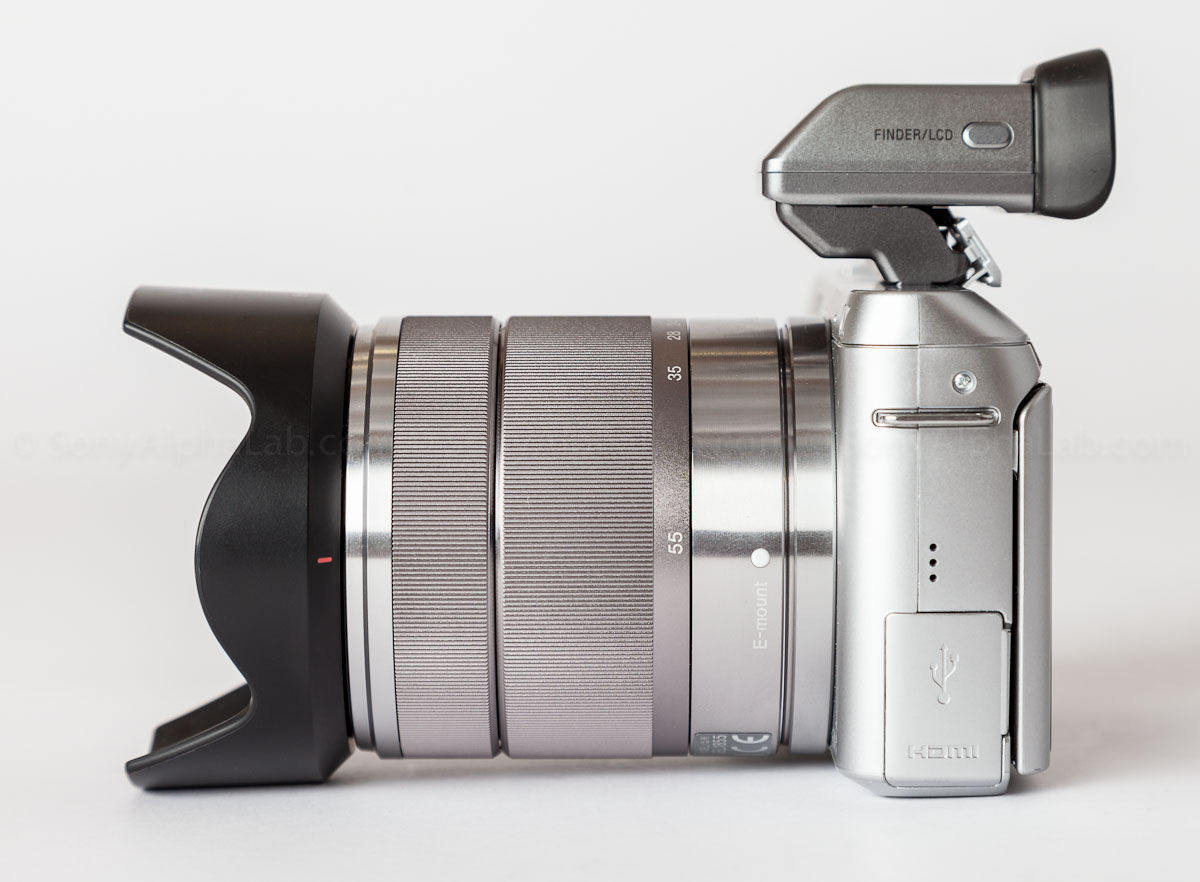 Sony Nex-F3 w/ 18-55mm kit lens and OLED Electronic Viewfinder Attached