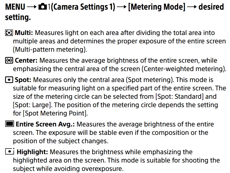 Sony A99 II Metering Modes