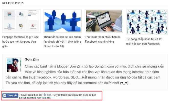 Cách chèn nút theo dõi facebook vào website - Thành quả