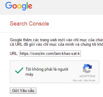 gửi url cho google