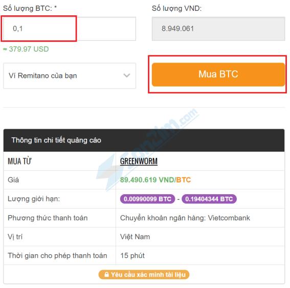 Cách mua Bitcoin trên Remintano - Bước 2b