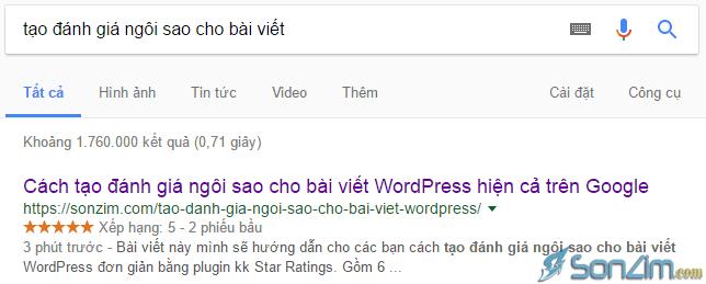 Đánh giá bài viết bằng số sao được hiển thị trên Google