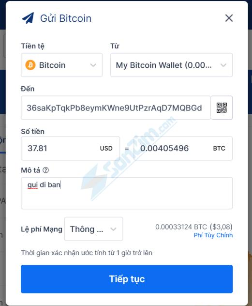 Cách gửi Bitcoin trên Blockchain - 2
