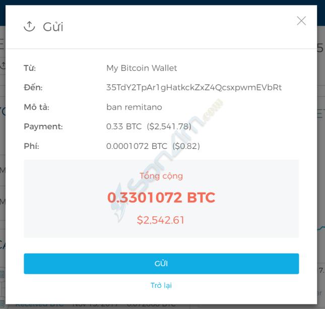 Chuyển bitcoin trên Blockchain - 2