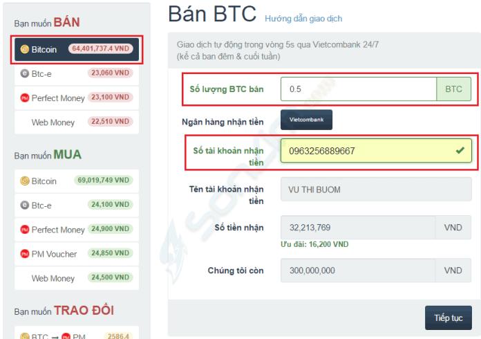 Hướng dẫn bán Bitcoin trên Santienao - 1