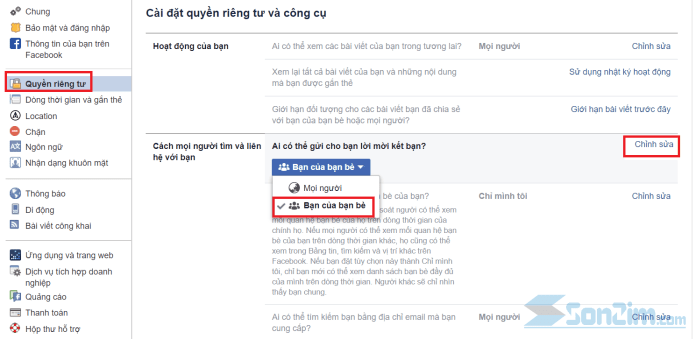 Cách chặn kết bạn trên facebook bằng trình duyệt máy tính - 2