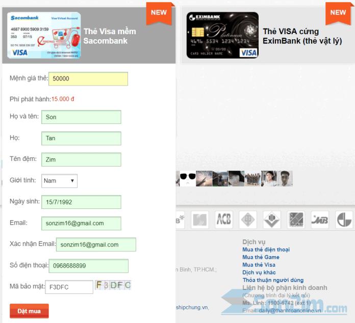 Cách mua thẻ Visa ảo - Bước 2