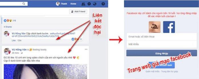 Sử facebook an toàn: Tuyệt đối không nhấp vào những liên kết đáng ngờ