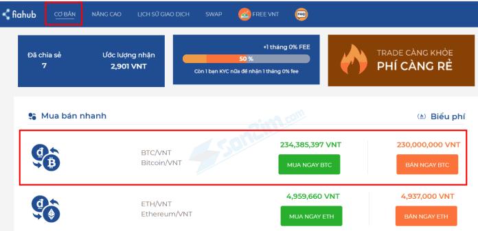 Cách mua bán Bitcoin trên Fiahub bằng chế độ CƠ BẢN - 1