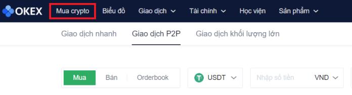 Vào Mua crypto để mua bán tiền ảo trên OKEx bằng tiền pháp định