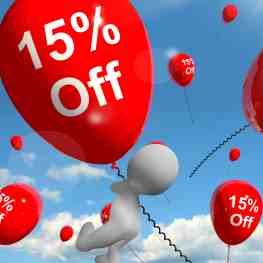 Balloon With 15% Off Shows Discount Of Fifteen Percent