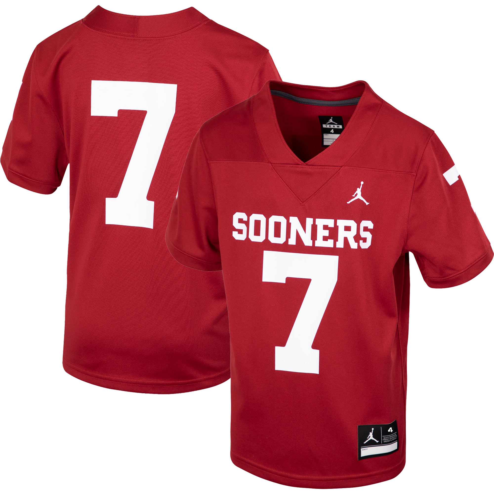 #7 Oklahoma Sooners Jordan Brand Preschool Replica Football Jersey - Crimson