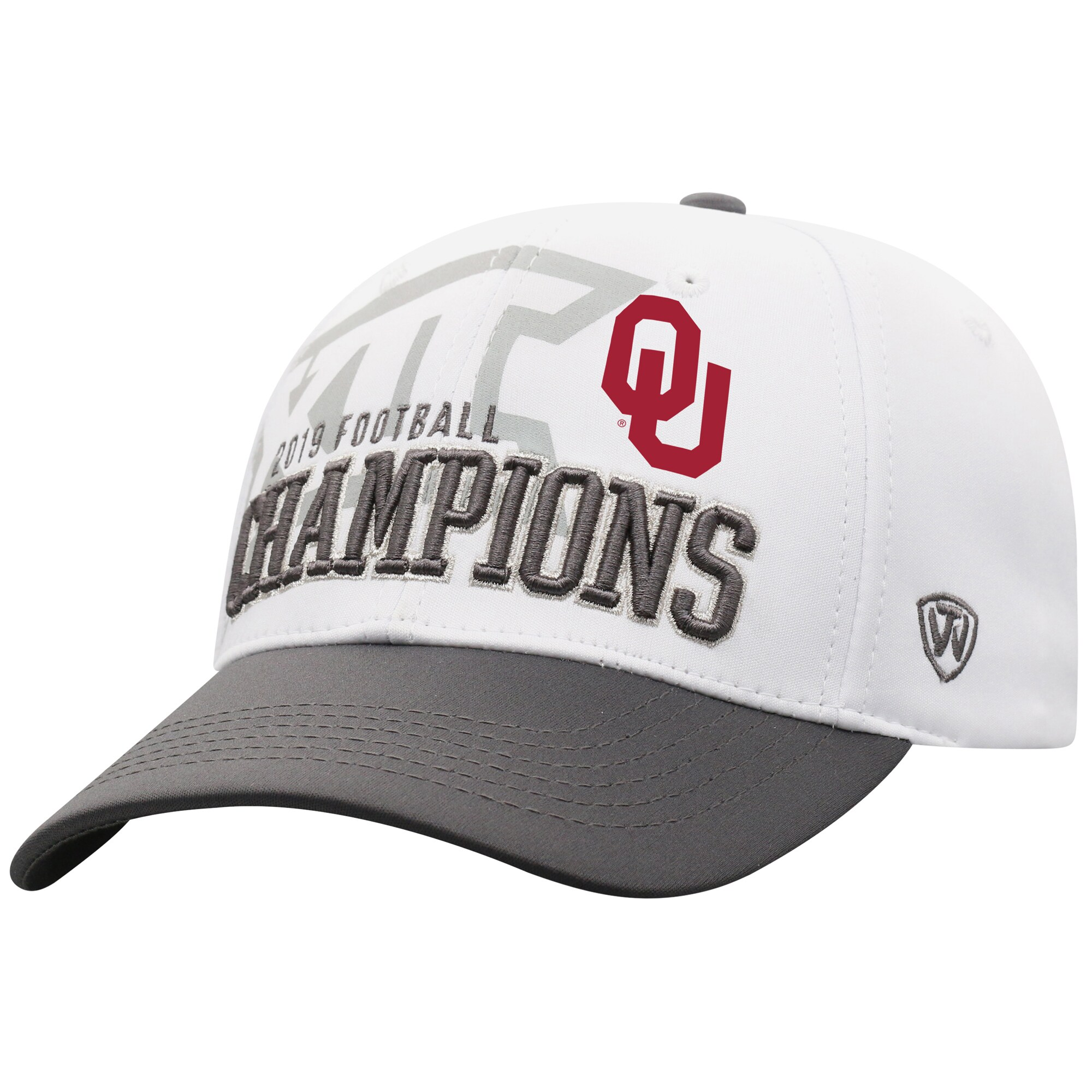 Oklahoma Sooners Top of the World 2019 Big 12 Football Champions Locker Room Adjustable Hat - White/Gray