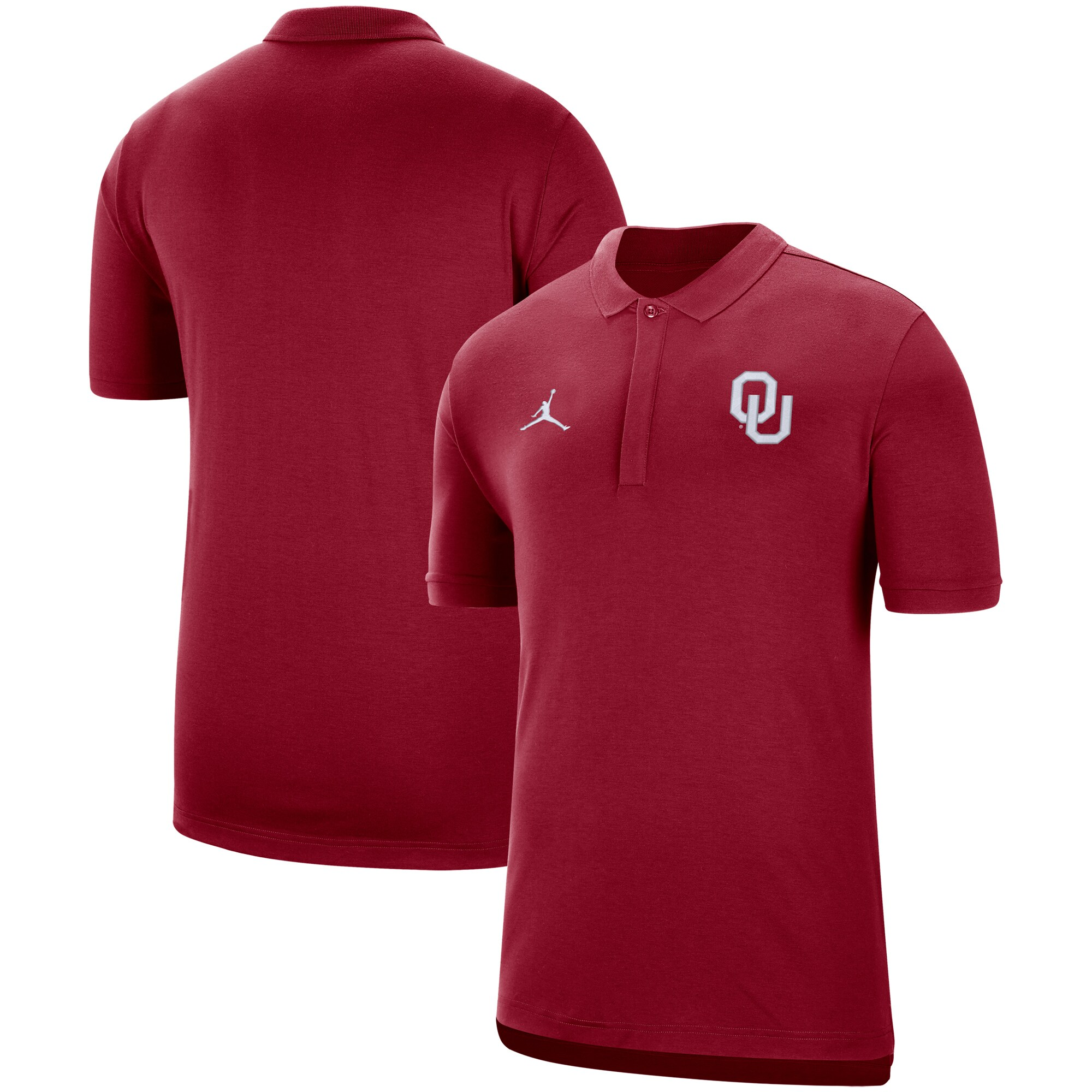 Oklahoma Sooners Jordan Brand 2019 Coaches Sideline Tri-Blend Performance Polo - Crimson