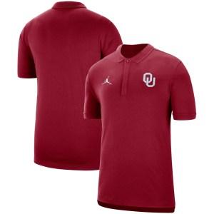 Oklahoma Sooners Jordan Brand 2019 Coaches Sideline Tri-Blend Performance Polo - Crimson