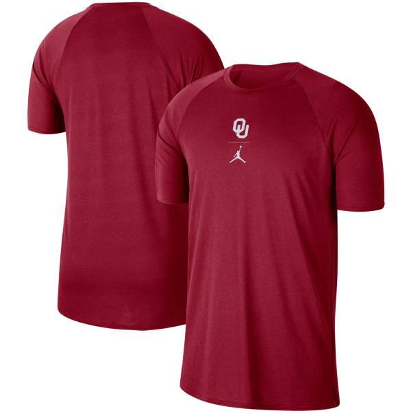 Oklahoma Sooners Jordan Brand Big & Tall Alpha Raglan Performance T-Shirt - Crimson