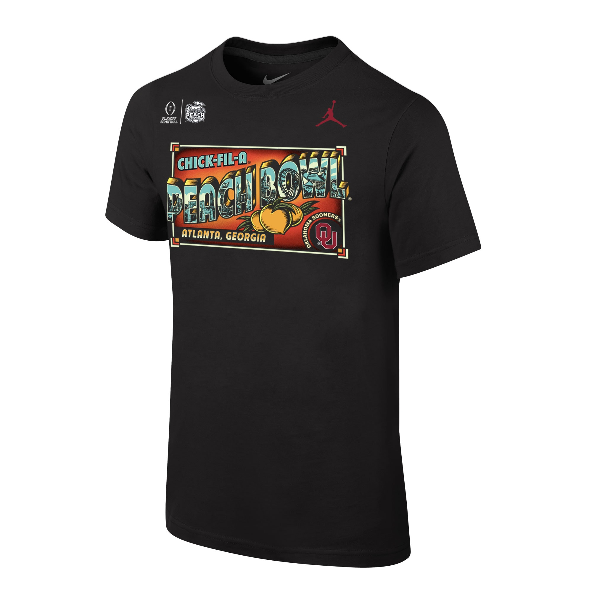 Oklahoma Sooners Jordan Brand Youth College Football Playoff 2019 Peach Bowl Bound Postcard T-Shirt - Black