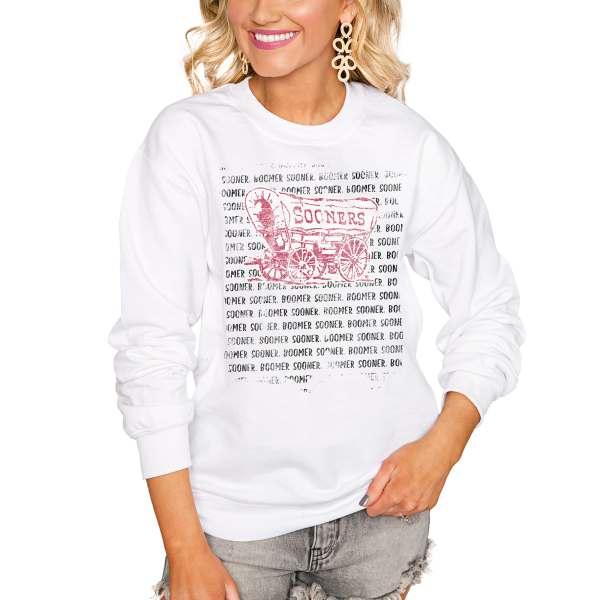 Oklahoma Sooners Women's Bold Type Perfect Pullover Sweatshirt - White